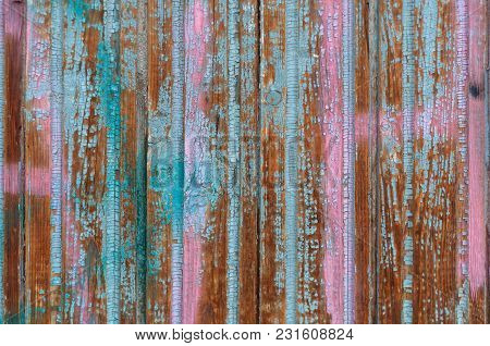 Background Of Wooden Boards With Old Shabby Pink And Blue Paint