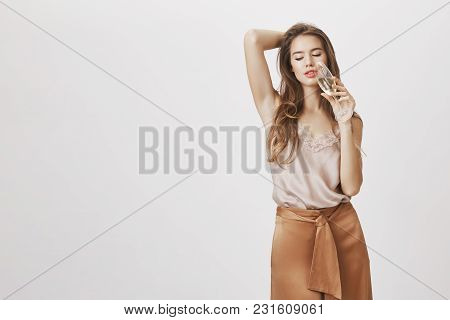 Charming Businesswoman Relaxing After Hard Day. Portrait Of Wealthy Feminine Caucasian Girlfriend Dr