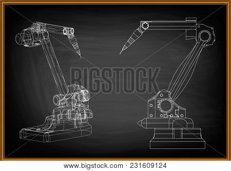 3d Model Of A Welding Robot On A Black Background. Drawing