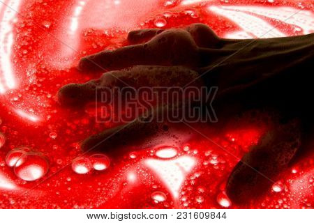 Artistic Hand Painted Multi Layered Red Background.