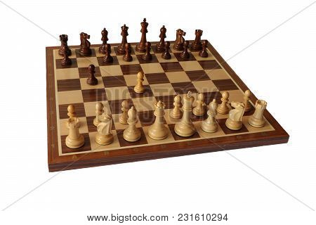 Photo Of Chess Opening On White Background. Polish Defence.