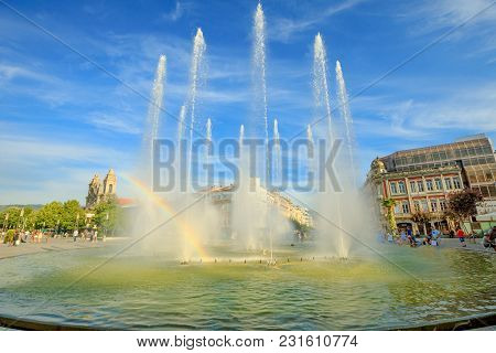Braga, Portugal - August 12, 2017: Rainbow In The Middle Of Fountains At Medieval Republic Square Or