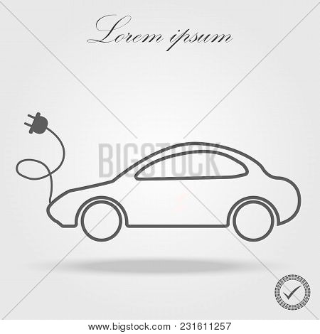 Electro Car Outline, Thin, Flat, Digital Icon For Web And Mobile