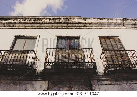 Balcony. Old Ruined Balcony. Estepona, Malaga, Spain.