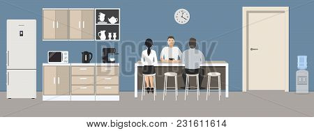 Blue Office Kitchen. Dining Room In The Office. Employees Are Sitting At The Table. Coffee Break. Th