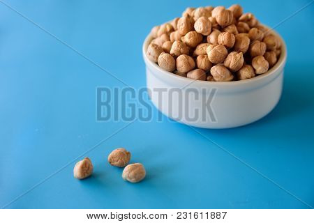 Ceramic Bowl With Raw Chickpeas