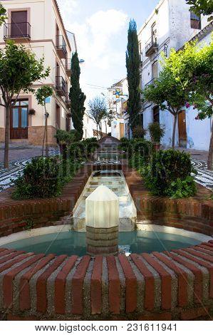 Fountain. Fountain In A Small Square. Estepona, Malaga, Spain. Picture Taken - 15 March 2018.