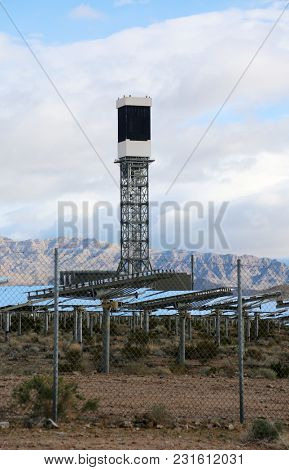 Solar Farm in the California - Nevada Desert. Solar Panels turn sunlight into electricity. Ecology. Solar Collector