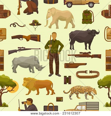 Hunt Safari Vector Hunterman Character In Africa With Hunting Ammunition Or Hunters Equipment Rifle