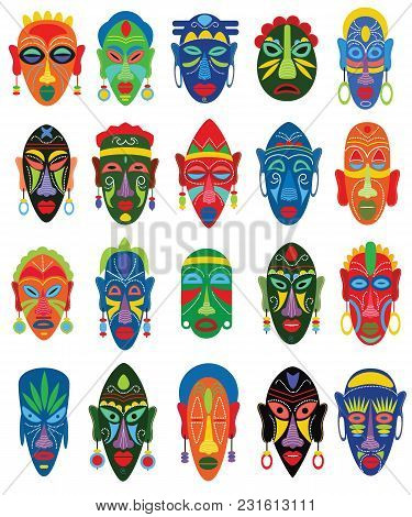 Tribal Mask Vector African Face Masque And Masking Ethnic Culture In Africa Illustration Set Of Trad