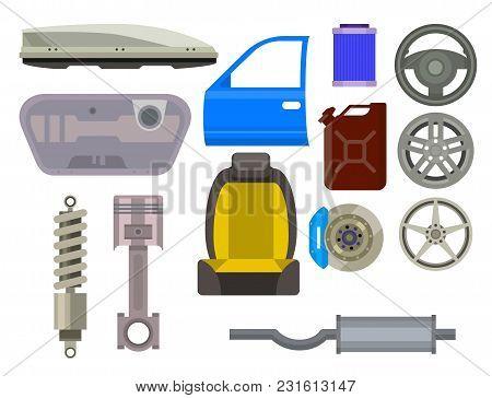 Car Vector Parts Auto Repair Service Vehicle Mechanic Repair Of Machines And Equipment Motocar Illus
