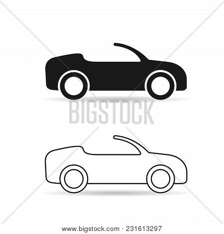Cabriolet Car Icon Set. Vector Isolated Simple Convertible Car Symbol.