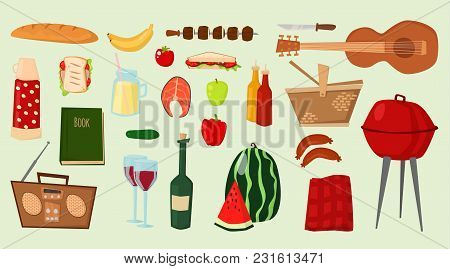 Barbecue Vector Icons Food Products Bbq Grilling Kitchen Outdoor Family Time Cuisine Illustration Pa