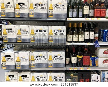 Spencer, Wisconsin, March,16, 2018   Several Alcoholic Beverages A Modern Grocery Store Shelf
