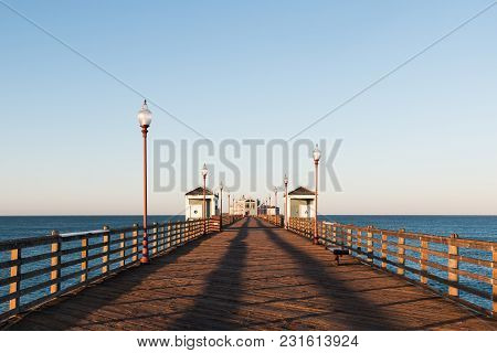 Oceanside, California/usa - February 24, 2018:  A View Down An Empty Oceanside Fishing Pier In The M