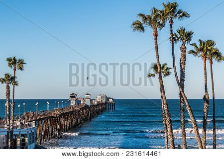 Oceanside, California/usa - February 24, 2018:  People Fish And Enjoy The View On The Oceanside Fish