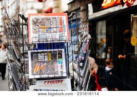 Paris, France - Oct 28, 2017: Details Of  Liberation French Newspaper With News From Spain About The
