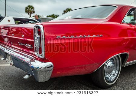 Tybee Island, Georgia, October 14, 2017 A 1966 Ford Fairlane 500 At A Classic Car Show.