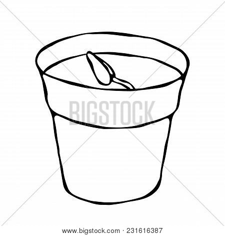 Flower Pot With Soil. Seed, Sprout And Root. Flowerpot For Sprouting Plant. Seedling. Phases Of Grow