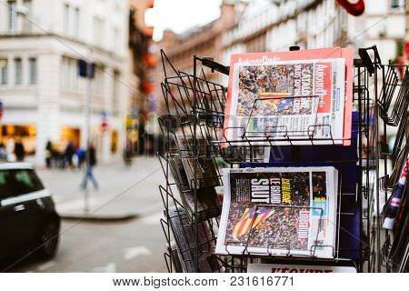 Paris, France - Oct 28, 2017: French International Liberation And Le Figaro Newspapers With News Fro