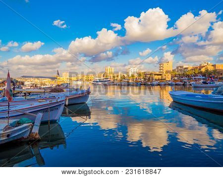 Tyre, Lebanon - May 21, 2017 - View Of The Port At Sunset.