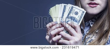 I Want A Pay Rise. Business Woman Holding Money As Symbol Of Best Motivation For Work.