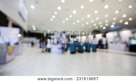 Blurred Background Of People In Expo Event Or Exhibition Hall