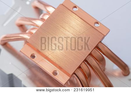 Aluminum Radiator With Copper Heat Pipe Close-up With Beautiful Bokeh Concept Of Air Cooling Of The