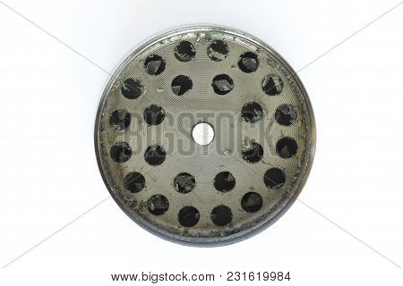 Metallic Gray Part Of Grinder For Buds Of Marijuana Isolated