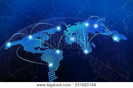 World Map, Connection Lines In Technology Concept, 3d Render Of Planet Earth