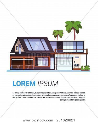 Modern House Real Estate Cottage Home Building Design Isolated On Template Background Flat Vector Il