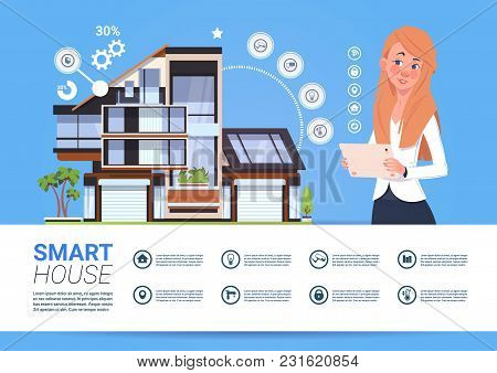 Woman Holding Digital Tablet With Smart Home Management System Interface Concept Flat Vector Illustr