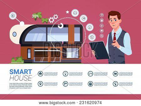 Man Holding Digital Tablet With Smart Home Management System Interface Concept Flat Vector Illustrat