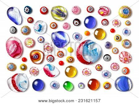 Collection Of Colorful Glass Beads Of Different Sizes And Shapes. Colored Venetian, Murano Glass, Mi