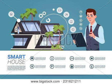 Smart Home Technology Banner With Man Holding Digital Tablet Device With Control System Flat Vector