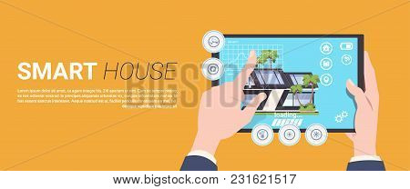 Hand Holding Digital Tablet With Smart Home Management System Interface Concept Template Background