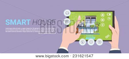 Smart Home Technology Banner With Hands Holding Digital Tablet Device With Control System Over Templ