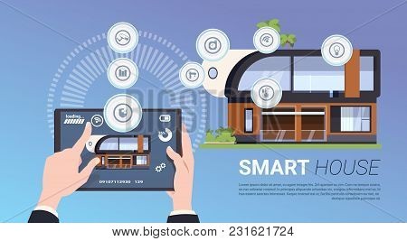 Smart Home Technology Banner With Hands Holding Digital Tablet Device With Control System Flat Vecto