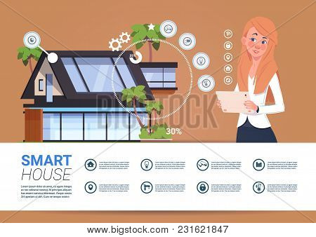 Woman Holding Digital Tablet With Smart Home Control And Administration System Interface Concept Fla