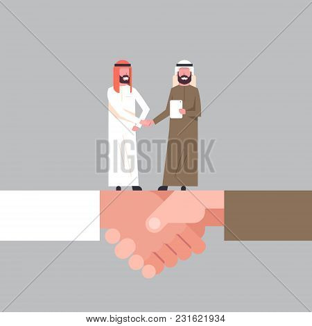Arab Businessmen Shaking Hands On Handshake Business Agreement And Partnership Concept Flat Vector I
