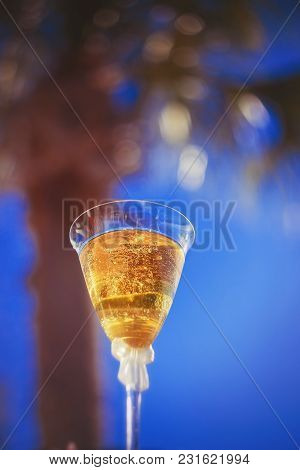 Creative Picture With Champagne Bubbles, Glittering In The Sunlight.