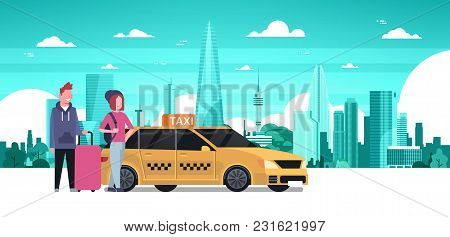 Passengers Couple Order Yellow Taxi Service Sit In Car Cab Over Silhouette City Background Flat Vect