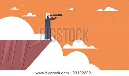 Arab Businessman Stand On Top Of Mountain With Telescope Looking For Success, Opportunities, Busines