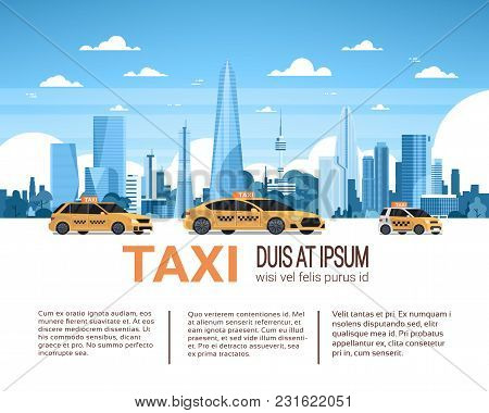 Taxi Service Template Infographic Banner With Copy Space, Yellow Cab Cars Over City Background Flat