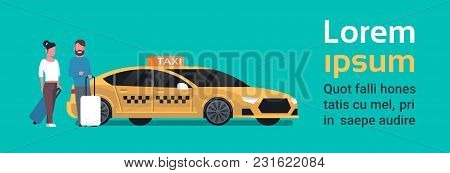 Passengers Couple Order Yellow Taxi Service Sit In Car Cab Over Background With Copy Space Flat Vect