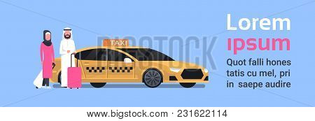 Arav Couple Of Passengers Sitting Down In Yellow Taxi Service Cab Over Background With Copy Space Fl