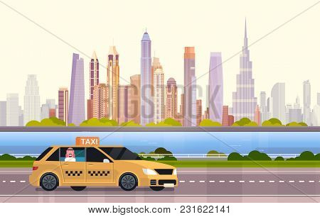 Yellow Taxi Car Cab On Road Over Dubai City Background Flat Vector Illustration