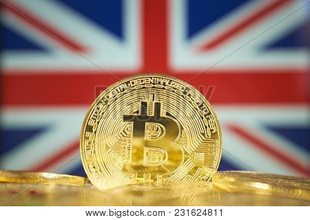 Bitcoin (new virtual money) and England Flag. Conceptual image for investors