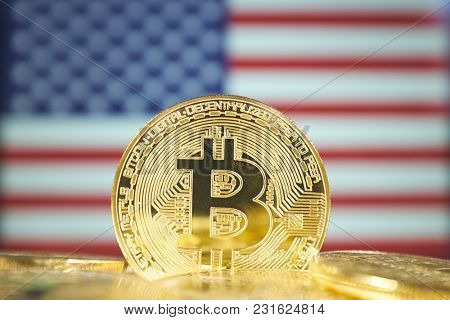 Bitcoin (new virtual money) and United States Flag. Conceptual image for investors