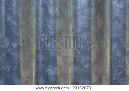 Close Up Of Zinc Roofing Sheet. Pattern On Zinc Sheet.